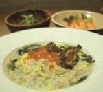 元氣早餐6   魩仔魚蛋粥+涼拌秋葵+蒸蝦
