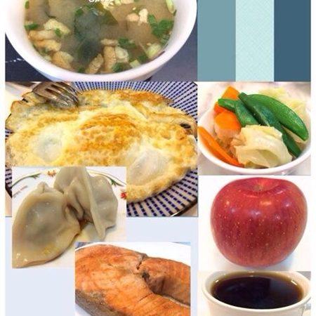 美魔女早餐/香煎鮭魚、海帶芽味噌湯、水餃…
